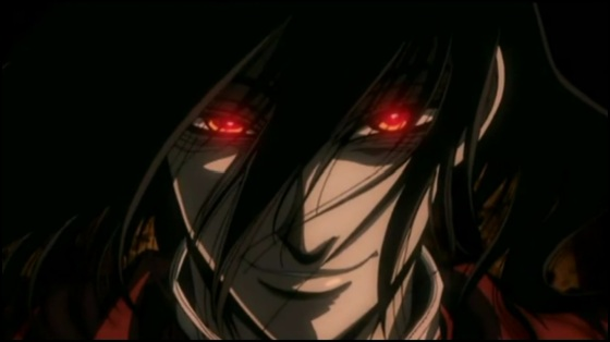 I couldn't find a picture of Sol with his hair down, so here's Alucard. Picture this, but with crazy eyes and more screaming.